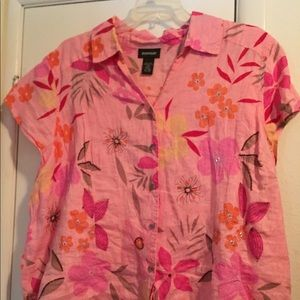 Blouse cute pink Embroidered and beaded 26-28